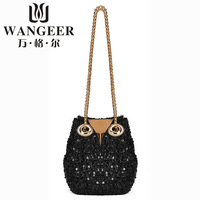 Cute owl sequined handbag fashion chain shoulder bag free shipping women messenger bag 2 size HR-027
