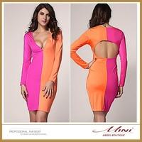 Free Shipping Plus Size Patchwork Bodycon Deep V-Neck Sexy Women Dress