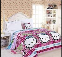 Hello kitty children warm Fleece Blankets Bed King Size  coral fleece flannel fabric super soft air-condition blanket 230x200cm