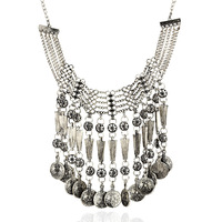 Carved Coins Tassel Big Retro Vintage Necklace Choker Female Zinc Alloy Jewelry 2014 Exaggerated Necklace Antique Gold Silver