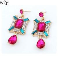 Free shipping 2014 new fashion high quality White crystal droplets shape shourouk style stud earring shourouk