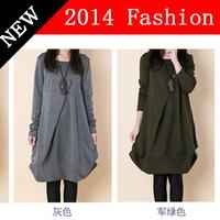 2014 New Autumn Fashion korean style women loose long sleeve cotton dress mori girl casual dresses women's fall clothing 914K