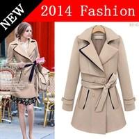 2014 New Autumn Fashion women long satin trench khaki coat belt winter casual coats woman fall clothes women's clothing 0914K
