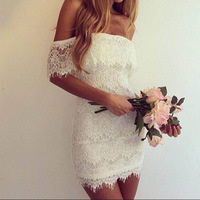 In the inventory of high-quality 2014 new winter fashion word shoulder lace dress sexy strapless mini dress nightclub