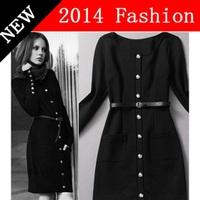 2014 New Autumn Fashion women long sleeve bandage dress black celebrity fall dresses woman clothes women's clothing 0914K