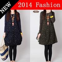 2014 New Autumn Fashion women long sleeve mini cutedress mori girl flower print dresses woman clothes women's clothing 0914K