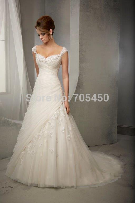 New White Ivory Lace Wedding Dress V Neck Wedding Dress VERNASSA Long Wedding Gown Stock US Size
