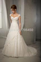 New white/ivory Lace wedding dress V-neck wedding dresses long wedding gown Bridal Gown Stock US Size: 2-4-6-8-10-12-14-16-18-20(China (Mainland))