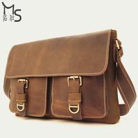 Guarantee 100% Genuine Leather Men and Women High quality Crazy horsehide Messenger Bag Vintage Fashion shoulder bag