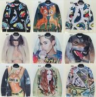 [Magic] newest style fashion sweatshirts for women 3d sweatshirt long sleeve o neck Animal/ladies printed thin hoodies 23models