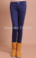 2014 winter new candy-colored fleece plus velvet thickening waist pencil jeans women's fashion leggings pants weatherization