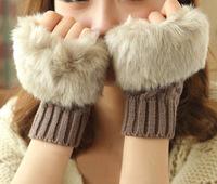 5 Pairs winter wool Gloves Arm Warmer Fingerless Gloves-Knitted Fur Trim Glove Mitten imitation knitted computer gloves Free Shi