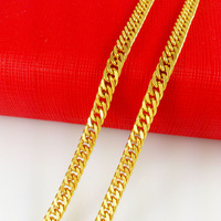 wholesale Vacuum Plating 24K Gold chain necklace New 2014 fashion men gold jewelry thick chains for men free shipping B028