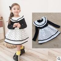 new 2014 autumn winter children girl long sleeve cotton geometric ruffle princess party dress kids cute dresses clothes lot