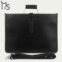 Guaranteed 100% Genuine leather New arrival Man handbag black  High quality Crazy horsehide Fashion Fine Business Men bag