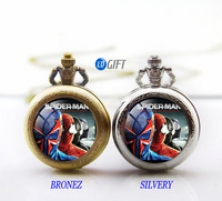 Free shipping superhero spider-man pocket watch necklace Marvel Heroes necklace The Avengers handmade necklace best gift