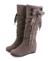 free shipping 2014 new fashion wedges women flats ladies black bow sexy women knee high long women boots autumn cheap