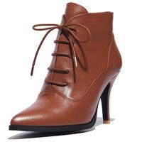 2014 New Winter  women Autumn ankle boots heels Plus velvet leather  women's motorcycle boots high heels boots