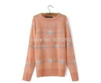 new arrival 2014 autumn winter women cute mohair sweater women Korea style kawaii rabbit print long sleeve pullover