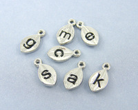 Set of AZ26 Alphabet Charm Pendant for Personalized Bridal Jewelry Necklaces Earrings Shiny Silver 1PCS a