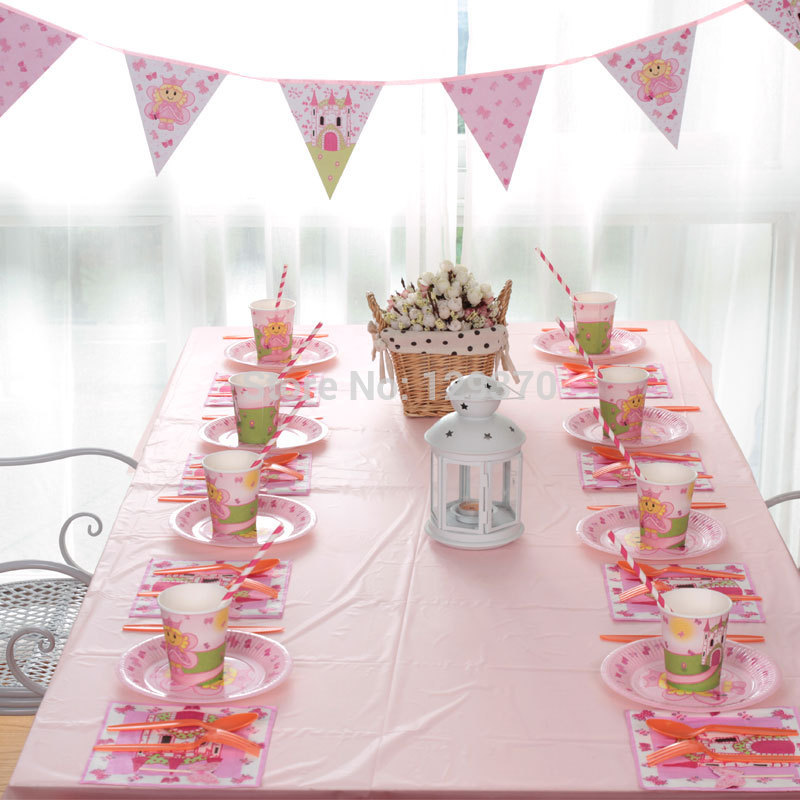 Free Shipping Princess Series Children Kids Birthday Party Sets 8 Person Sets Party Decoration(China (Mainland))