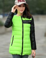 Women's cotton-padded jacket 2014 winter medium-long down cotton plus size jacket female slim ladies jackets and coats parka