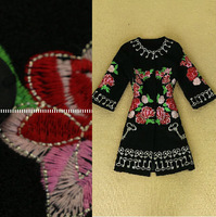 Famous Brand Runway Long Wool Blends For Winter New 2014 Woman Plus Size XXL Full Sleeve Desigual Embroidery Woolen Trench Coat