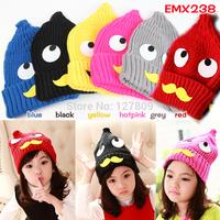 2014 New Winter Child Korean Cute Cartoon Eye Beard Warm Crochet Cap,Unisex Girls Knitted Beanie,Free Shipping  EMX238