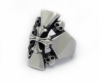 2014 high quality punk style fashion  vintage silver 316L stainless steel cross rings jewelry for cool men