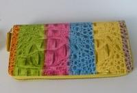 Latest genuine leather wallet ,ladies wallet, top zipper closure multi-color pattern