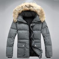 Plus Size S-3XL New Men's Long Woolen Thick Fur Collar White Duck Down Coat,Winter Snow Warm Down Jacket  For Men,3 Colors,DCS01