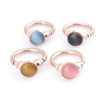 Fashion Colorful Tiger Eye Ring Spring Belt Titanium Stainless Steel Opal Stone Finger Ring Men Women Couples Ring Lovers Bijoux