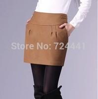2014 Women Autumn Winter Woolen Skirts Plus Size Ladies Fashion Bud Skirts Sexy High Waist Knee-Length Skirt Business Skirts