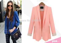 2014 new fashion Europe women fashion brief candy color No Button Blazer coat Lady slim brand design cardigan outerwear#J356