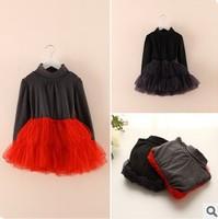 new 2014 autumn winter children girl fashion patchwork turtleneck tiered tutu tulle dress kids princess party dresses clothes