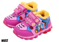 Lovely children shoes LED lighted girls' sneakers Thicken cotton lining anti-skidding winter warm girl shoes