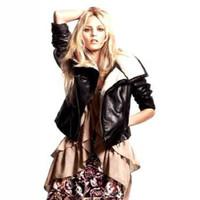 FS2856 Winter New Arrival PU Leather Wool Coat Jacket Long Sleeve