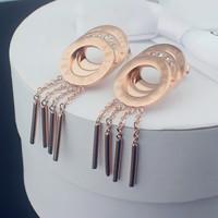 Italy Luxury Brand Logo Multilayer Crystal Earrings Tassel Drop Dangle Earings Women Titanium Stainless Steel Earring Jewelry