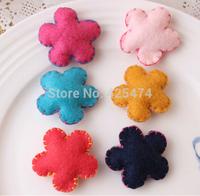 Free Shipping 30PCS 36MM Spring Flowers shape Handmade Woven Crochet Wool Felt Patchs for Kids/Girl/Children Hairband Decoration