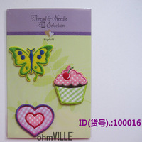 100016 Ice Cream Iove Butterflies Iron-On Applique Embroidered Patch garment for cloth,shoes,pants + Free shipping