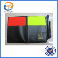 2014 Professional Soccer Referee special red yellow cards + transparent PVC jacket + Pencil wholesale free shipping