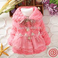 New 2014 Children Outerwear Cute Soft Girls Coat Kids Warm Clothes Yarn Girls Clothes Child Winter Outerwear Top