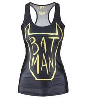 V98 tank tops vests New 2014 summer round neck digital printing bat man letters stretch sheath sexy skinny black women clothes