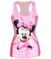 V132 skinny tank tops sexy vests 2014 new summer fashion digital printing cute Minnie cartoon sheath slim pink women clothes