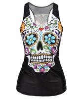 V9 sexy tank tops slim vests 2014 new summer round neck flowers skeleton digital printed stretch sheath black women clothes