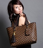 Hot sale!! New 2014 fashion women messenger bags women brands brown plaid women leather handbags women hanbag