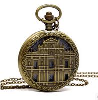 New Large retro  house  pocket watch necklace church sweater chain fashion jewelry wholesale fashion pocket  watch