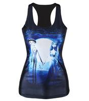 V94 tank tops skinny vests 2014 Europe new summer 3D Corpse Bride digital printing stretch sheath sexy black women clothing