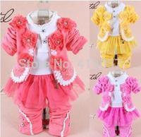 2014 new baby girl clothing set high quality children flower long sleeve denim three piece sets Korean version