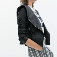 FS2858 Winter New Arrival Fashion PU Leather Jacket Coat Long Sleeve